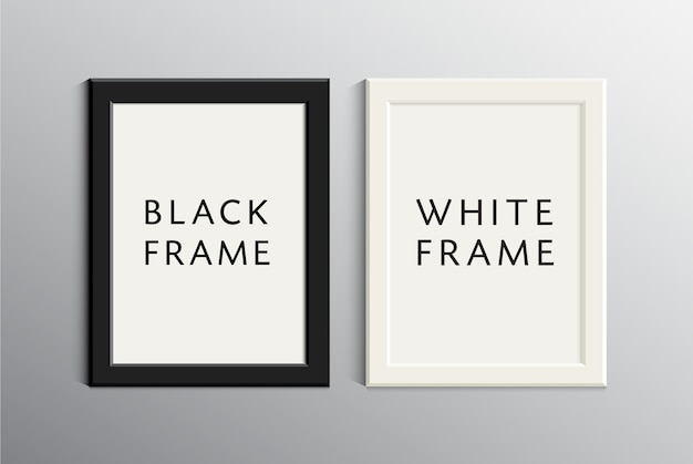 Set of white and black empty frames. realistic 3d illustration with shadows