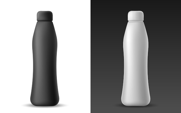 Set of white and black realistic plastic bottle