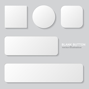 Set of white blank button. round, square rounded buttons