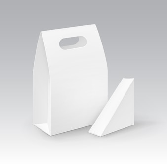 Set of white blank cardboard rectangle triangle take away handle lunch boxes packaging for sandwich, food.