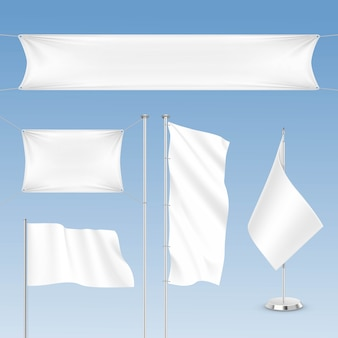 Set of white blank flags  on background