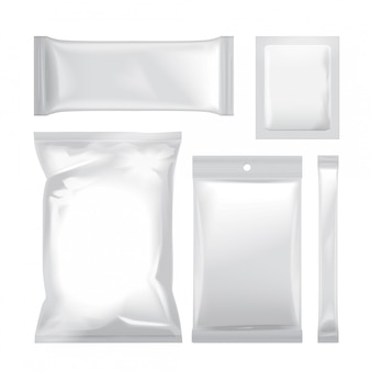 Set of white blank foil bag packaging for food, snack, coffee, cocoa, sweets, crackers, chips, nuts, sugar.  plastic pack
