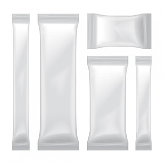 Set of white blank foil bag packaging for food, snack, sugar, candy, seasoning, medical shachet.  plastic pack  template