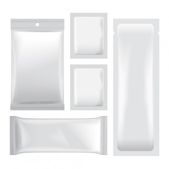 Set of white blank foil bags packaging for food, snack, coffee, cocoa, sweets, crackers, chips, nuts.  plastic pack