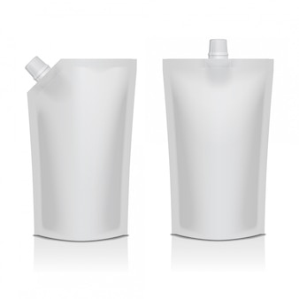 Set of white blank plastic doypack stand up pouch with spout. flexible packaging  for food or drink