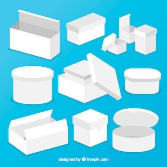Set di scatole bianche per la spedizione in stile piatto