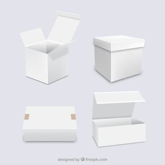 Set of white boxes to shipping in realistic style