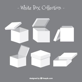 Set of white boxes to shipping