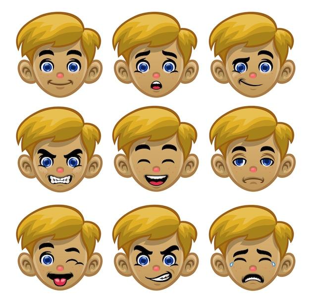 さまざまな目と口の表情で白人の男の子の頭を設定します