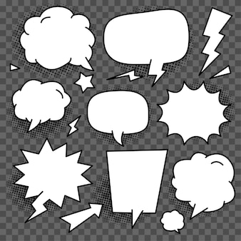 Set of white bubble speech vector template