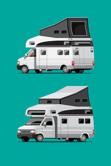 Set of white camping trailers, travel mobile homes or caravan on green background, isolated flat  illustration