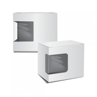 Set of white cardboard plastic package box with window.