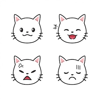 Set of white cat faces showing different emotions