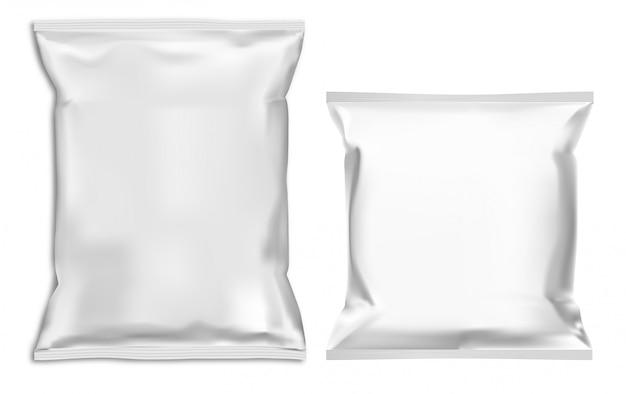 Set of white chips bag