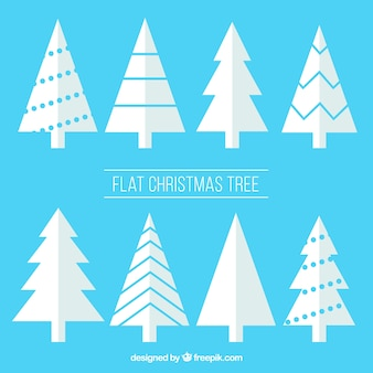 Set of white christmas trees in flat design