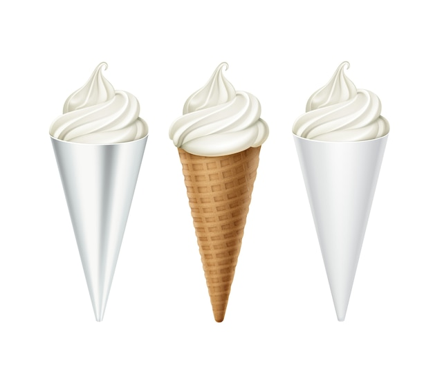 Set of white classic soft serve ice cream waffle cone in white carton foil wrapper close up isolated on white background