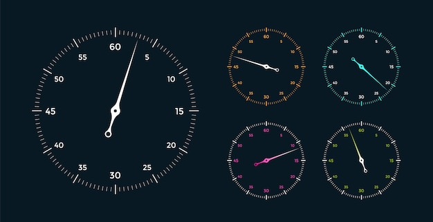 Set of white clock face for with pointer on black background