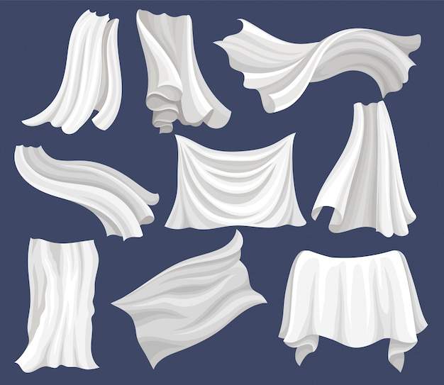 Set of white cloth. silk bed sheet. curtains flying on the wind. elements for poster or banner of textile store