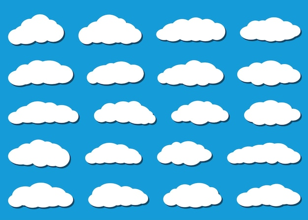 Set of white clouds with shadows in flat style on light blue background.