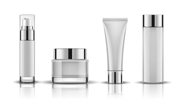 Set white cosmetic bottles packaging mock up