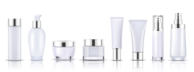 Set white cosmetic bottles packaging mock up