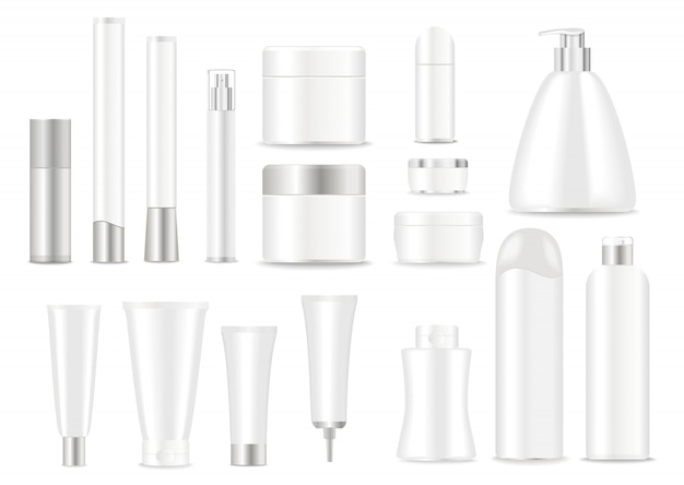 Set of white cosmetic tubes with silver caps