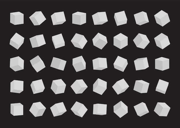 Set of white cubes.  illustration.