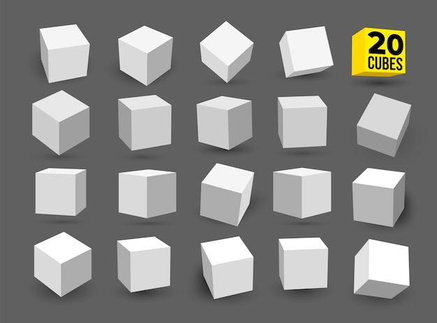 Set of white cubes isolated on white background different light perspective and angle