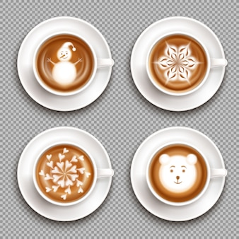 Set of white cups with latte art top view isolated