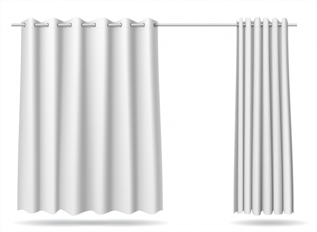 Set of white curtain locker rooms store hospital