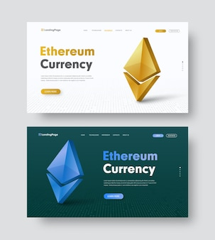 Set of white and dark green website header with gold and blue 3d coin ethereum icon.