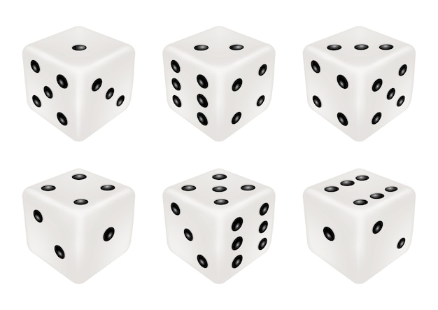 Set of a white dice three dimensions