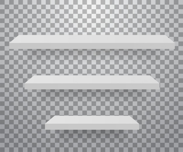 Set of white different furniture shelves.