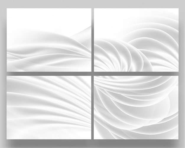 Set of white fabric material smooth wave abstract background.