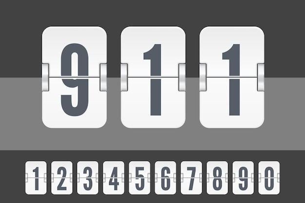 Set of white flip score board numbers for countdown timer or calendar isolated on dark and light background. vector template for your design.