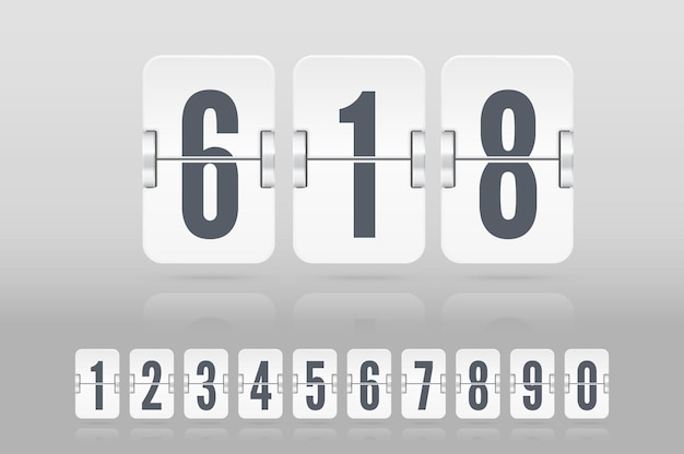 Set of white flip score board numbers floating with reflection for countdown timer or calendar isolated on light background. vector template for your design.