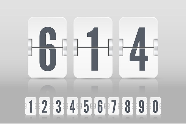 Set of white flip score board numbers with reflections for countdown timer or calendar isolated on light background. vector template for your design.