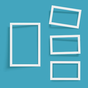 Set of white frames on blue with shadow