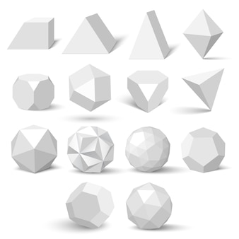 Set of white geometric figures. polyhedrons.