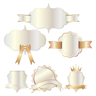 Set of white gold badges label and ribbon
