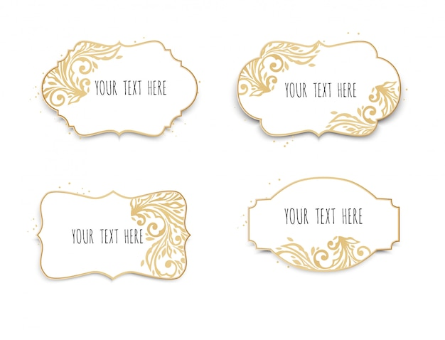 Set of white and gold frames for text