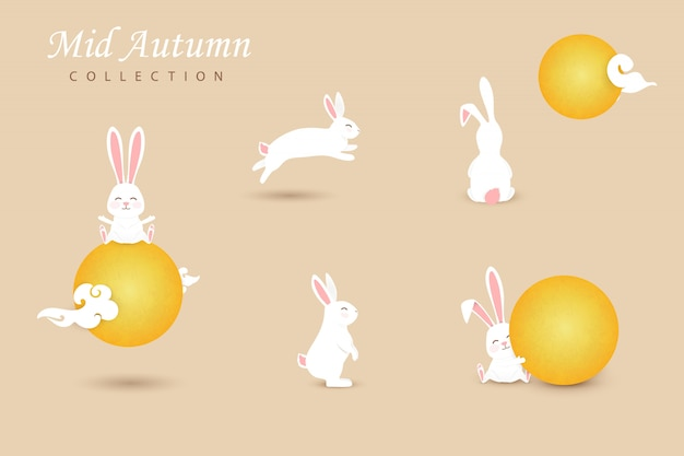 Set of white happy, cute moon rabbits with chinese clouds, full yellow moon.  collection funny bunny.  illustration