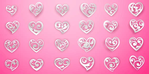 Set of white heart symbols with curls, glares and shadows on pink background