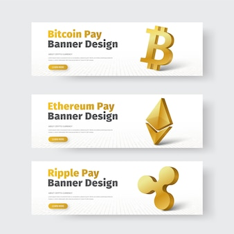Set of white horizontal banners with gold 3d icon of ripple, bitcoin and ethereum.