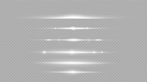 Set of white horizontal lens flares. laser beams, horizontal light beams. glow transparent vector set of light effects, explosion, glitter, spark, solar flare.
