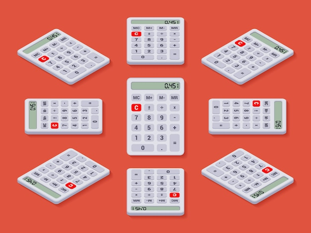 Set of white isometric calculators