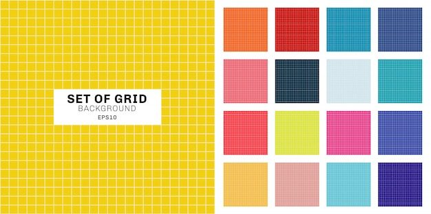 Set of white line grid pattern