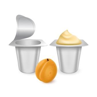 Set of white matte plastic pots for yogurt cream dessert or jam