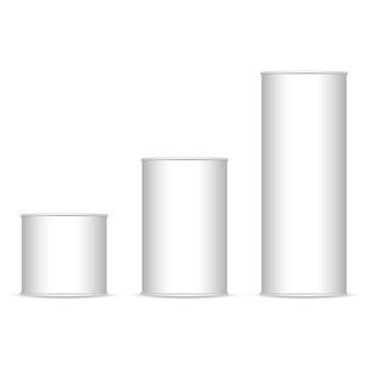 Set of white and metallic tin can.