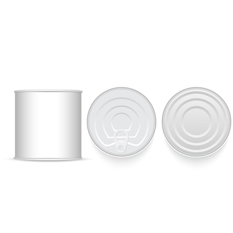Set of white and metallic tin.